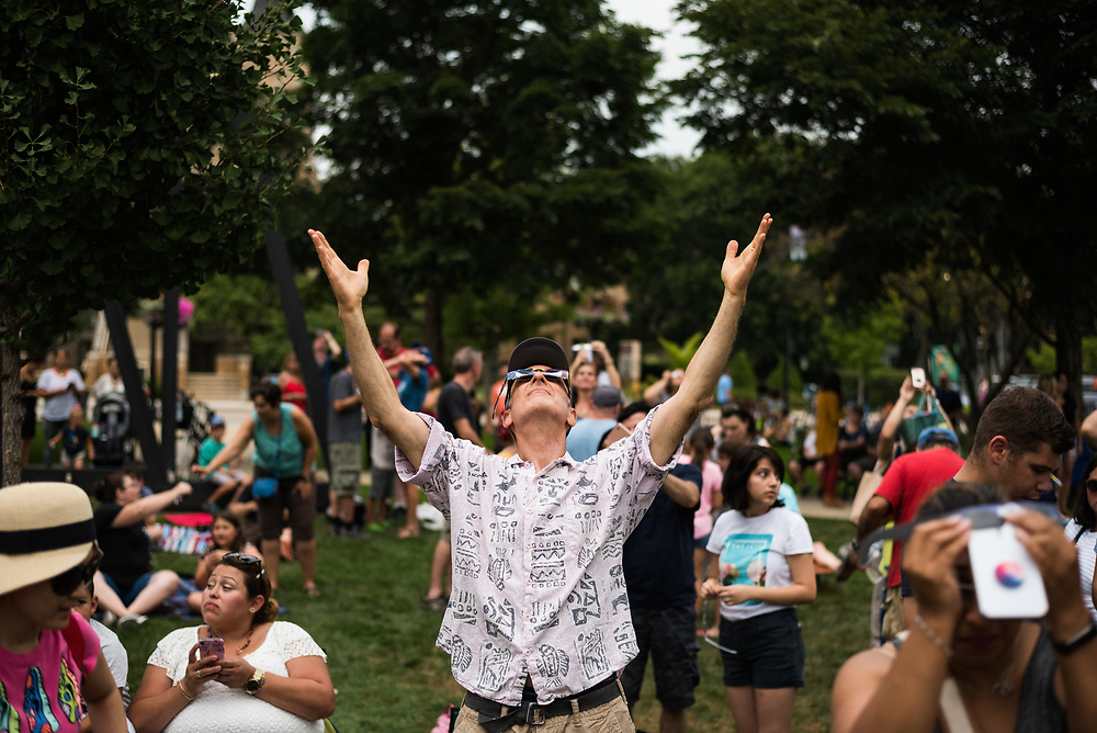 Over 1,100 people gathered on the Village Green in Downtown Skokie for a solar eclipse viewing party on Aug 21, 2017.