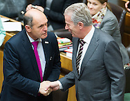 Austrian Minister of the Interior Wolfgang Sobotka (left) and Vice Chancellor of Austria and Minister of Science and Economy Reinhold Mitterlehner during a presentation of the new foreign minister and tightening of asylum law at Austrian Parliament Building, Innere Stadt<br /> Picture by EXPA Pictures/Focus Images Ltd 07814482222<br /> 27/04/2016<br /> ***UK &amp; IRELAND ONLY***