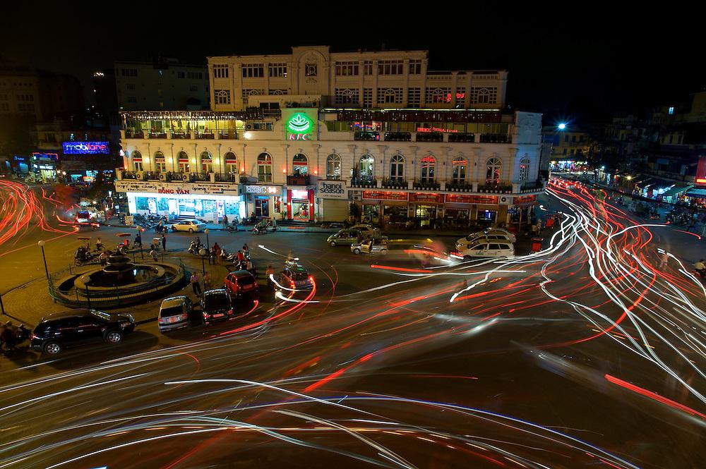 Sunday evening motorbike traffic in Hoam Kiem Lake, Hanoi, Vietnam.