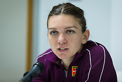 February 19, 2019 - Dubai, ARAB EMIRATES - Simona Halep of Romania talks to the media after winning her second-round match at the 2019 Dubai Duty Free Tennis Championships WTA Premier 5 tennis tournament (Credit Image: © AFP7 via ZUMA Wire)