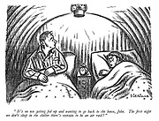 """It's no use getting fed up and wanting to go back to the house, John. The first night we don't sleep in the shelter there's certain to be an air raid!"""