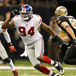 November 28, 2011; New Orleans, LA, USA; New York Giants linebacker Mathias Kiwanuka (94) against the New Orleans Saints during the second half of a game at the Mercedes-Benz Superdome. The Saints defeated the Giants 49-24. Mandatory Credit: Derick E. Hingle-US PRESSWIRE