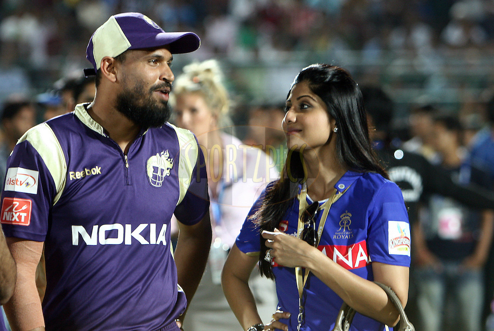 Kolkatta Knightriders player Yusuf Pathan (L) and Rajasthan Royals owners Shilpa Shetty after match 12 of the the Indian Premier League ( IPL ) Season 4 between the Rajasthan Royals and the Kolkata Knightriders held at the Sawai Mansingh Stadium, Jaipur, Rajatshan, India on the 15th April 2011..Photo by Money Sharma/BCCI/SPORTZPICS