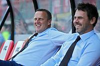 ALKMAAR - 23-08-15, AZ - Willem II, AFAS Stadion, 0-0, AZ trainer John van den Brom (l), Dennis Haar.