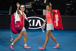 MELBOUREN, Jan. 24, 2019  Zhang Shuai (R) of China and Samantha Stosur of Australia wave to spectators after winning the women's doubles semifinal match against Barbora Strycova and Marketa Vondrousova of the Czech Republic at 2019 Australian Open in Melbourne, Australia, Jan. 23, 2019. Zhang Shuai and Samantha Stosur won 2-1. (Credit Image: © Elizabeth Xue Bai/Xinhua via ZUMA Wire)