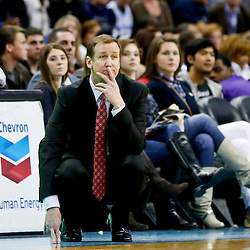 Feb 13, 2013; New Orleans, LA, USA;  Portland Trail Blazers head coach Terry Stotts against the New Orleans Hornets during the second half of a game at the New Orleans Arena. The Hornets defeated the Trail Blazer 99-63. Mandatory Credit: Derick E. Hingle-USA TODAY Sports