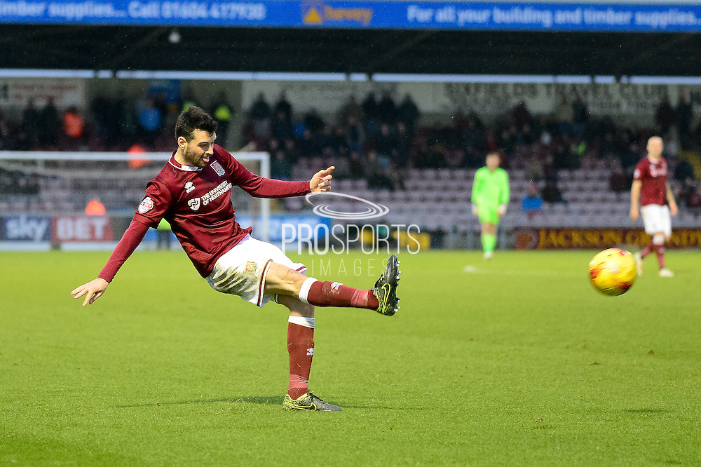 Northampton Town Defender Brendan Maloney gets in a cross during the Sky Bet League 2 match between Northampton Town and York City at Sixfields Stadium, Northampton, England on 6 February 2016. Photo by Dennis Goodwin.