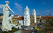 Statues on the roof of the Municipal Palace overlook the Metropolitan Cathedral and Cathedral Plaza in Casco Viejo, the neighborhood in Panama city that UNESCO declared a World Heritage Site<br /> because of the abundance of colonial architecture.