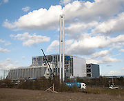 Energy from waste incinerator power station under construction at Great Blakenham, Suffolk, England in February 2014.