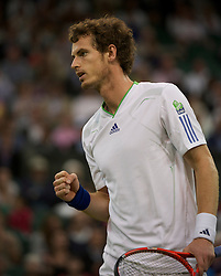 LONDON, ENGLAND - Friday, June 24, 2011: Andy Murray (GBR) celebrates winning a point during Gentlemen's Singles 3rd Round match on day five of the Wimbledon Lawn Tennis Championships at the All England Lawn Tennis and Croquet Club. (Pic by David Rawcliffe/Propaganda)