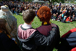 At the opening ceremony Harry Potter is seen putting his arm arround the charachter of Ron Weasley as they stand infront of the crowd. After missing the Hogwarts Express Ron waited at the platform for his friends. (Bastiaan Slabbers/for PhillyVoice)