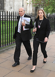 © licensed to London News Pictures. WESTMINSTER, UK  27/04/11. Business Secretary Vince Cable walking through Parliament Square with an aide towards Parliament today (27 April 2011). Please see special instructions. Photo credit should read Stephen Simpson/LNP
