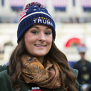 """Jessica Ledoux, traveled from Richmond, VA to attend the Inauguration of Donald Trump as the 45th President of the United States, January 20, 2017.  When asked about her hopes for a Trump administration, she replied that she hoped for """"better jobs, more funding for the military"""", as well as hoping Trump is able to """"...restore the Supreme Court..."""" in a conservative direction.  John Boal Photography"""