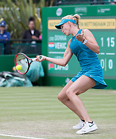 NOTTINGHAM, ENGLAND - JUNE 14: Donna Vekic of Croatia in action against Vera Lapko of Belarus during Day Six of the Nature Valley Open at Nottingham Tennis Centre on June 14, 2018 in Nottingham, United Kingdom. (Photo by James Wilson/MB Media/Getty Images)