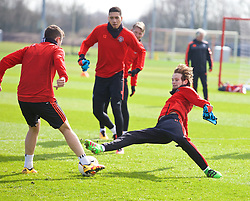 MANCHESTER, ENGLAND - Wednesday, March 16, 2016: Manchester United's Daley Blind during a training session at Carrington Training Ground ahead of the UEFA Europa League Round of 16 2nd Leg match against Liverpool. (Pic by David Rawcliffe/Propaganda)