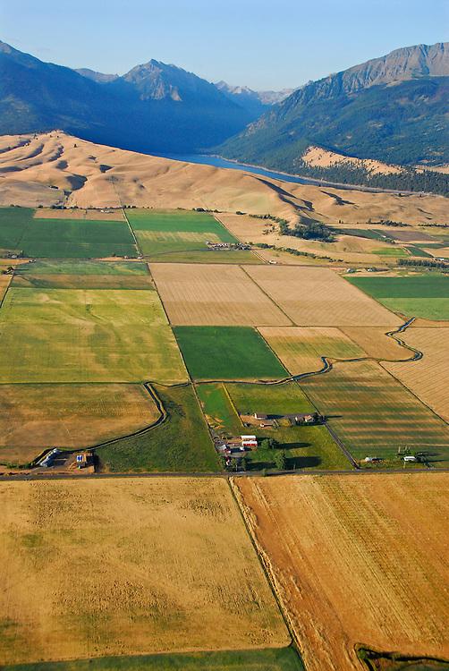 Aerial view of farmland, Wallowa Lake and the Wallowa Mountains, Oregon.