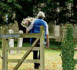 © London News Pictures. 14/09/2013.  Flowers arriving for the wedding of Euan Blair, Son of former British Prime Minister Tony Blair,  to Suzanne Ashman at All Saints Parish Church in Wotton Underwood, Buckinghamshire. The wedding was attended by Former British Prime minister Tony Blair and his wife Cherie Blair. Photo credit: Ben Cawthra/LNP