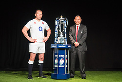 Hurlingham Club, London, January 27th 2016. England Captain Dylan Hartley and Head Coach Eddie Jones  at the launch of the RBS Six Nations Rugby Tornament. ///FOR LICENCING CONTACT: paul@pauldaveycreative.co.uk TEL:+44 (0) 7966 016 296 or +44 (0) 20 8969 6875. ©2015 Paul R Davey. All rights reserved.