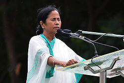 August 28, 2017 - Kolkata, West Bengal, India - Tinamool Congress (TMC) supremo and West Bengal Chief Minister Mamata Banerjee address the activist of Trinamool Congress student wing popularly known as Trinamool Congress Chatra Parishad (TMCP) on the occasion of Trinamool Congress Chatra Parishad foundation day in front of Gandhi Statue on August 28, 2017 in Kolkata. (Credit Image: © Saikat Paul/Pacific Press via ZUMA Wire)