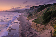 Evening light over coastal cliffs at San Gregorio State Beach, San Mateo County coast, California
