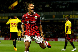 Bobby Reid of Bristol City celebrates scoring a goal to make it 2-1 - Mandatory by-line: Robbie Stephenson/JMP - 22/08/2017 - FOOTBALL - Vicarage Road - Watford, England - Watford v Bristol City - Carabao Cup