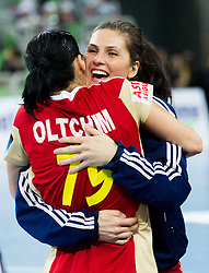 Players of Valcea during handball match between RK Krim Mercator and CS Oltchim RM Valcea (ROU) of Women's EHF Champions League 2011/2012, on February 4, 2012 in Arena Stozice, Ljubljana, Slovenia. Valcea defeated Krim 31-25. (Photo By Vid Ponikvar / Sportida.com)