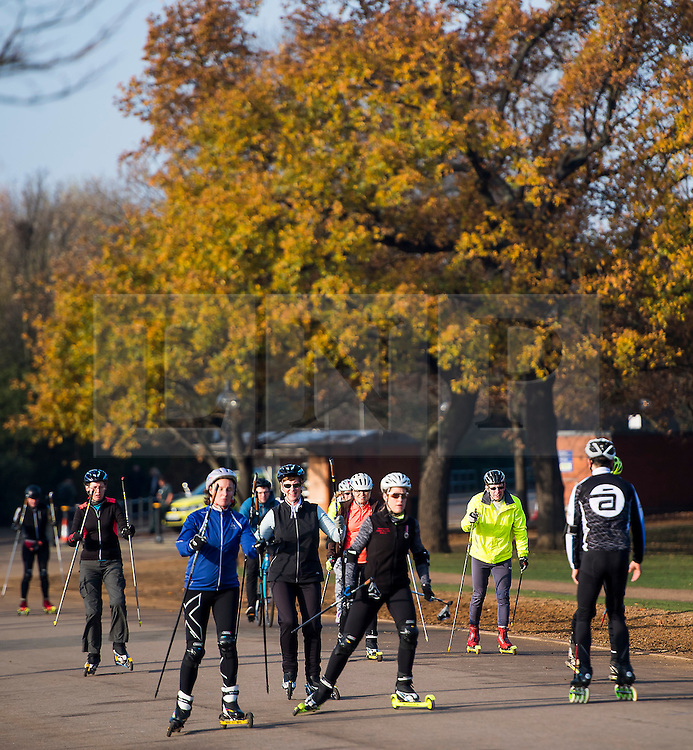 © Licensed to London News Pictures. 26/11/2016. London, UK. A group people rollerskiiing on a bright and sunny Autumn morning in Hyde Park, London. Photo credit: Ben Cawthra/LNP