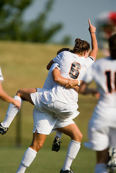 Virginia Cavaliers M Julia Falk (6) celebrates after scoring the game winning goal in the second overtime against W&M.  The Virginia Cavaliers women's soccer team defeated the William and Mary Tribe 1-0 in double overtime at Klockner Stadium in Charlottesville, VA on September 23, 2007.