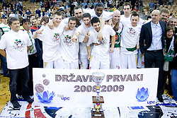 Union Olimpija celebrates at third finals basketball match of Slovenian Men UPC League between KK Union Olimpija and KK Helios Domzale, on June 2, 2009, in Arena Tivoli, Ljubljana, Slovenia. Union Olimpija won 69:58 and became Slovenian National Champion for the season 2008/2009. (Photo by Vid Ponikvar / Sportida)