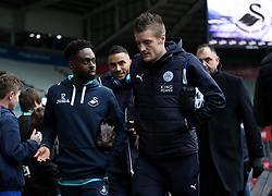 Leicester City's Jamie Vardy (right) and Swansea City's Nathan Dyer prior to the Premier League match at the Liberty Stadium, Swansea.