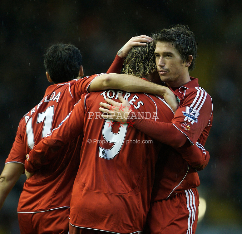 LIVERPOOL, ENGLAND - Sunday, December 2, 2007: Liverpool's Fernando Torres celebrates scoring the second goal against Bolton Wanderers, with his team-mates Alvaro Arbeloa and Harry Kewell, during the Premiership match at Anfield. (Photo by David Rawcliffe/Propaganda)