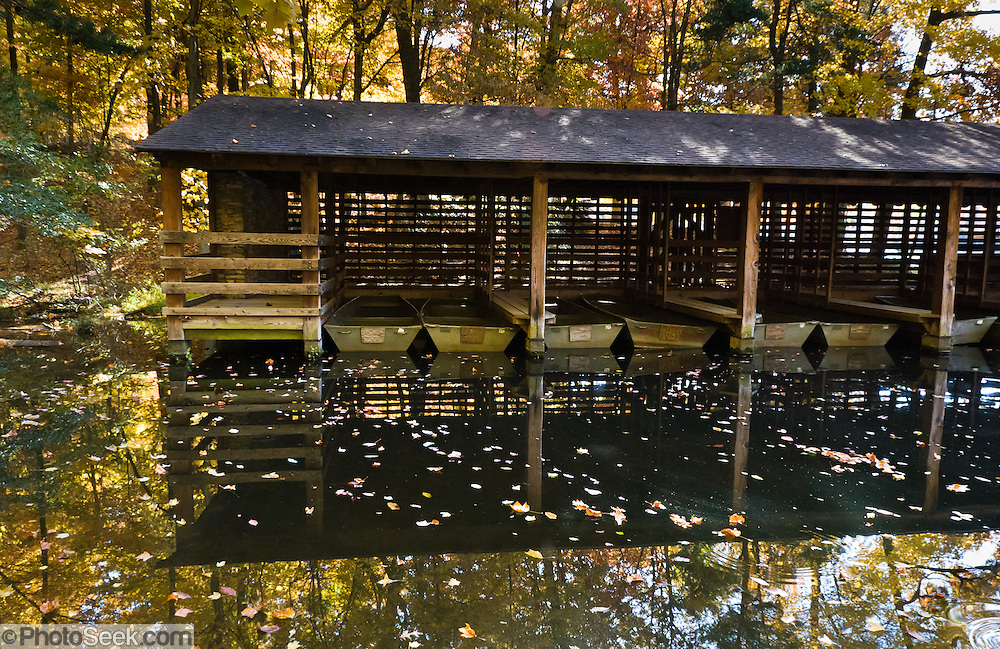 The Civilian Conservation Corps (CCC) completed a concrete and earthen dam in 1938 to impound the 12-acre lake at Hanging Rock State Park, Stokes County, North Carolina, USA. Private boats are not permitted, but rowboats and canoes can be rented during the summer. The park is 30 miles (48 km) north of Winston-Salem, and approximately 2 miles (3.2 km) from Danbury.