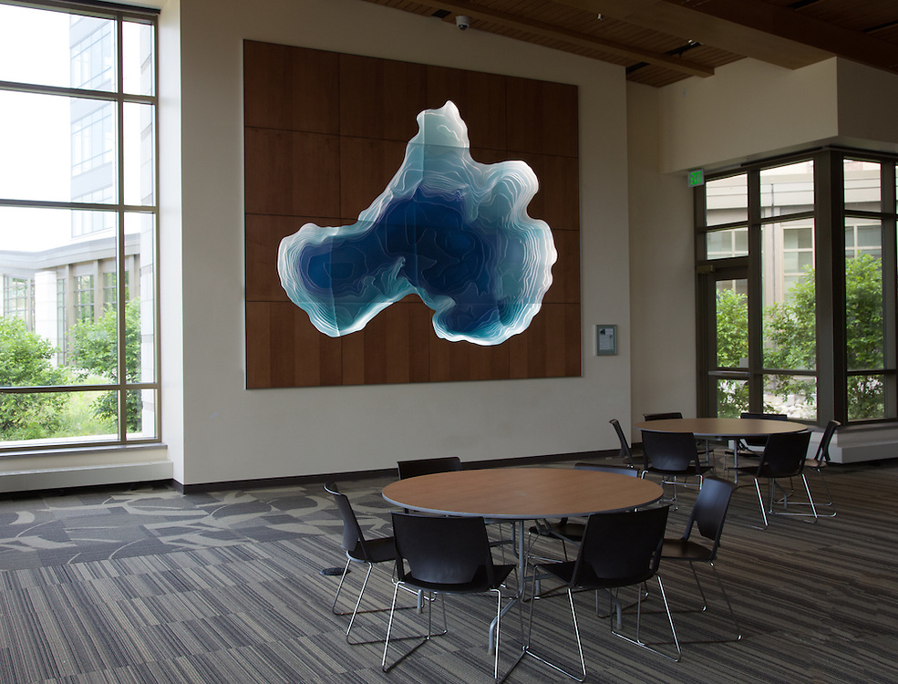 "Dejope Residence Hall's proximity to water inspired local artist Gail Simpson and Aris Georgiades to create ""Under The Surface"", a translucent acrylic sculpture of Lake Mendota. The sculpture has a powerful visual impact, glowing from baclit LED lights while its surface shimmers as it is viewed from different angles.(Text from sign at installation.)"