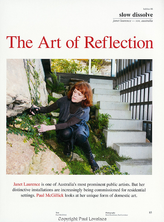 Feature on public artist Janet Laurence at home, Sydney.