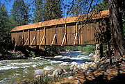 Covered bridge at the Pioneer Yosemite History Center in Wawona, Yosemite National Park (World Heritage Site), California