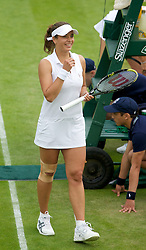 26.06.2013, Wimbledon, London, ENG, WTA Tour, The Championships Wimbledon, Tag 3, im Bild Petra Cetkovska (CZE) celebrates after winning during three one of the WTA Tour Wimbledon Lawn Tennis Championships at the All England Lawn Tennis and Croquet Club, London, Great Britain on 2013/06/26. EXPA Pictures © 2013, PhotoCredit: EXPA/ Propagandaphoto/ David Rawcliffe<br /> <br /> ***** ATTENTION - OUT OF ENG, GBR, UK *****