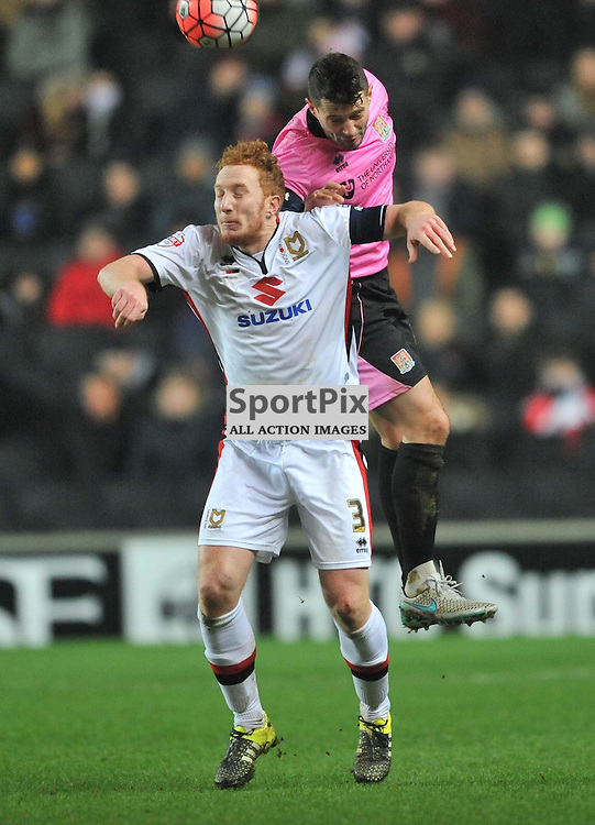 NORTHAMPTONS MARC RICHARDS HOLDS OF MK DONS DEAN LEWINGTON, MK Dons v Northampton Town, FA Cup Emirates FA Cup Third round Repay, Stadium MK, Tuesday 19th January 2016