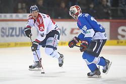 20.02.2015, Helios-Arena, Schwenningen, GER, DEL, Schwenninger Wild Wings vs Eisbären Berlin, 49. Runde, im Bild (l.) Andre Rankel (Eisbaeren Berlin) (r.) Stephan Wilhelm (Schwenninger Wild Wings), // during Germans DEL Icehockey League 49th round match between Schwenninger Wild Wings and Eisbären Berlin at the Helios-Arena in Schwenningen, Germany on 2015/02/20. EXPA Pictures © 2015, PhotoCredit: EXPA/ Eibner-Pressefoto/ Laegler<br /> <br /> *****ATTENTION - OUT of GER*****