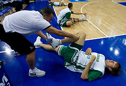 Teo Djekic and Matjaz Smodis (8) of Slovenia at warming up before the EuroBasket 2009 Semi-final match between Slovenia and Serbia, on September 19, 2009, in Arena Spodek, Katowice, Poland. Serbia won after overtime 96:92.  (Photo by Vid Ponikvar / Sportida)