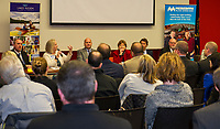 Cass Walker LRGHealthcare addresses the audience as a member of the panel during the Lakes Region Workforce Development Resource Summit Friday morning.  (l-r) Jamie DeCato LRCC Asst Professor Automotive Technology, Cass Walker, LRGHealthcare, Justin Slattery Belknap EDC, Senator Jeanne Shaheen, Dr. Ross Gittell Chancellor Community College System, Gary Groleau NH Ball Bearing and Allison McLean Eversource.   (Karen Bobotas/for the Laconia Daily Sun)