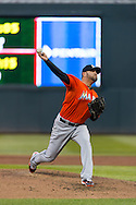 Ricky Nolasco #47 of the Miami Marlins pitches against the Minnesota Twins in Game 2 of a split doubleheader on April 23, 2013 at Target Field in Minneapolis, Minnesota.  The Marlins defeated the Twins 8 to 5.  Photo: Ben Krause