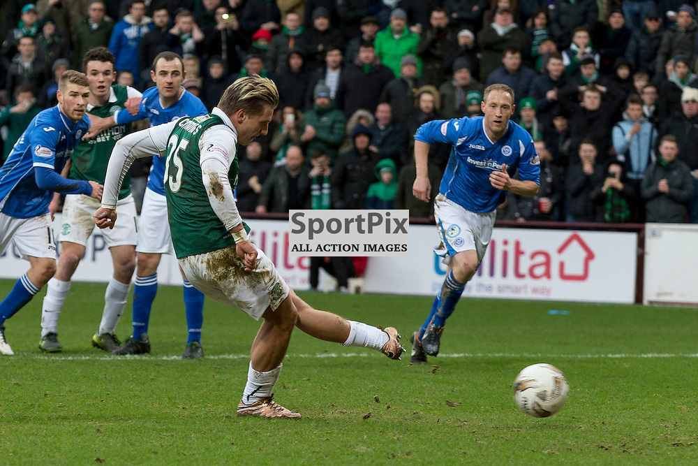 Hibernian v St Johnstone Scottish League Cup semi-final 2015-2016  <br /> <br /> Jason Cummings (Hibernian) opens the scoreing from the penalty spot during the Hibernian v St Johnstone, Scottish League Cup semi-final at Tynecastle Stadium on Saturday 30 January 2016.<br /> <br /> Picture: Alan Rennie