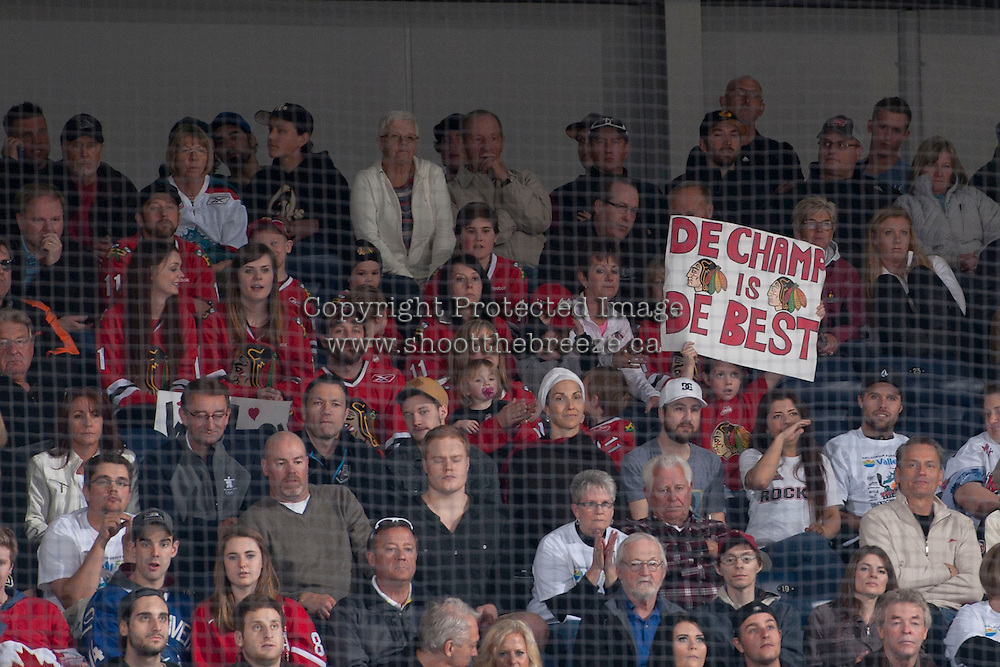 KELOWNA, CANADA - APRIL 25: Portland Winterhawks' fans sit in the stands at the # of the Kelowna Rockets on April 25, 2014 during Game 5 of the third round of WHL Playoffs at Prospera Place in Kelowna, British Columbia, Canada. The Portland Winterhawks won 7 - 3 and took the Western Conference Championship for the fourth year in a row earning them a place in the WHL final.  (Photo by Marissa Baecker/Getty Images)  *** Local Caption *** Fans;