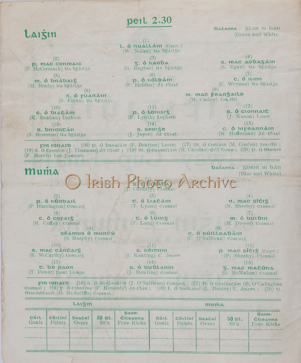 Interprovincial Railway Cup Football Cup Final,  17.03.1961, 03.17.1961, 17th March 1961, referee S O Mairtin , Leinster 4-05, Munster 0-04, Football Team Leinster, W Nolan, P McCormack, G Hughes, S Egan, M Brady, P Holden, C Wrynne, S Foran, M Carley, K Beahan, F Lynch, J Kenna, S Brereton, J Joyce, K Heffernan, Football Team Munster, J Cullotty, P Harrington, T Lyons N Sheehy, K Coffey, T Long, M Dwyer, S Murphy, C O'Sullivan, E McCarthy, J Keating, P Sheehy, T Power, J Dowling, G McMahon,.Interprovincial Railway Cup Hurling Cup Final,  17.03.1961, 03.17.1961, 17th March 1961, referee C O Dublainn, Leinster 3-09, Munster 4-12,.