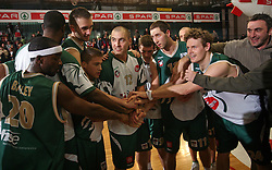 Player of Union Olimpija celebrating the victory after the final match of Spar Cup 2007-08 between Union Olimpija, Ljubljana, Slovenia, and Helios Domzale, Slovenia, on February 10, 2008, in Arena Kodeljevo, Ljubljana, Slovenia. Match and Cup was won by Union Olimpija, who defeated Helios Domzale in final match with 85:66. (Photo by Vid Ponikvar / Sportal Images).