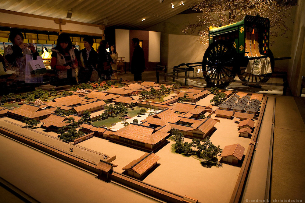 A miniature model of Hikaru Genji's residence, Rokujo-in at the Genji Museum in Uji City. As described in the novel, Genji lived here with four different ladies who were placed at separate blocks of the residence...