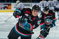 KELOWNA, CANADA - OCTOBER 5:  Cayde Augustine #5 of the Kelowna Rockets warms up against the Victoria Royals on October 5, 2018 at Prospera Place in Kelowna, British Columbia, Canada.  (Photo by Marissa Baecker/Shoot the Breeze)  *** Local Caption ***