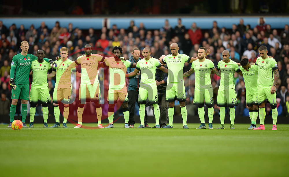 Man city Hold a minute silence for remembrance day. - Mandatory byline: Alex James/JMP - 07966 386802 - 08/11/2015 - FOOTBALL - Villa Park - Birmingham, England - Aston Villa v Manchester City - Barclays Premier League