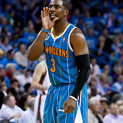 October 27, 2010; New Orleans, LA, USA; New Orleans Hornets point guard Chris Paul (3) yells to a teammate during the second quarter against the Milwaukee Bucks at the New Orleans Arena. Mandatory Credit: Derick E. Hingle