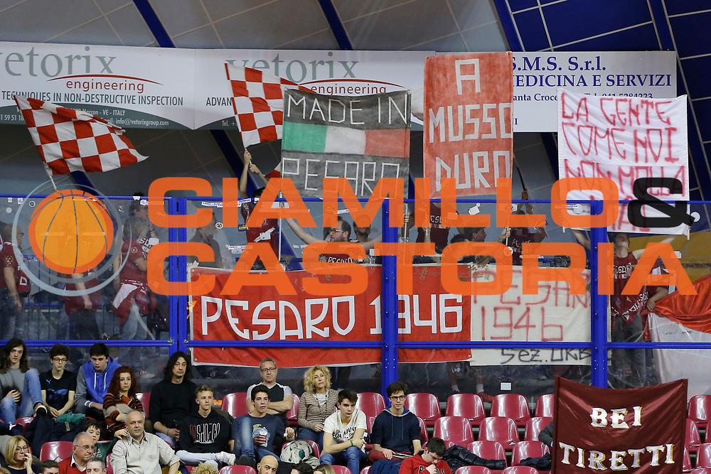 DESCRIZIONE : Venezia Lega A 2014-15 Umana Reyer Venezia Consultinvest Pesaro<br /> GIOCATORE : Team Consultinvest Pesaro<br /> CATEGORIA : Tifosi<br /> SQUADRA : Umana Reyer Venezia Consultinvest Pesaro<br /> EVENTO : Campionato Lega A 2014-2015<br /> GARA : Umana Reyer Venezia Consultinvest Pesaro<br /> DATA : 29/03/2015<br /> SPORT : Pallacanestro <br /> AUTORE : Agenzia Ciamillo-Castoria/G. Contessa<br /> Galleria : Lega Basket A 2014-2015 <br /> Fotonotizia : Venezia Lega A 2014-15 Umana Reyer Venezia Consultinvest Pesaro